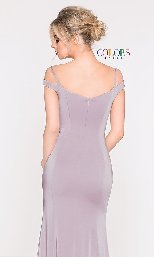 Image of off-the-shoulder sweetheart evening dress. Style: CD-2017 Detail Image 2