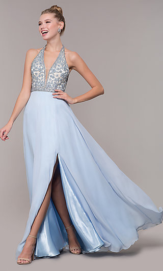 Long V-Neck Prom Dress with Rhinestone Bodice