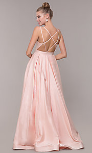 Image of long strappy-back ball-gown-style formal prom dress. Style: CD-2062 Back Image