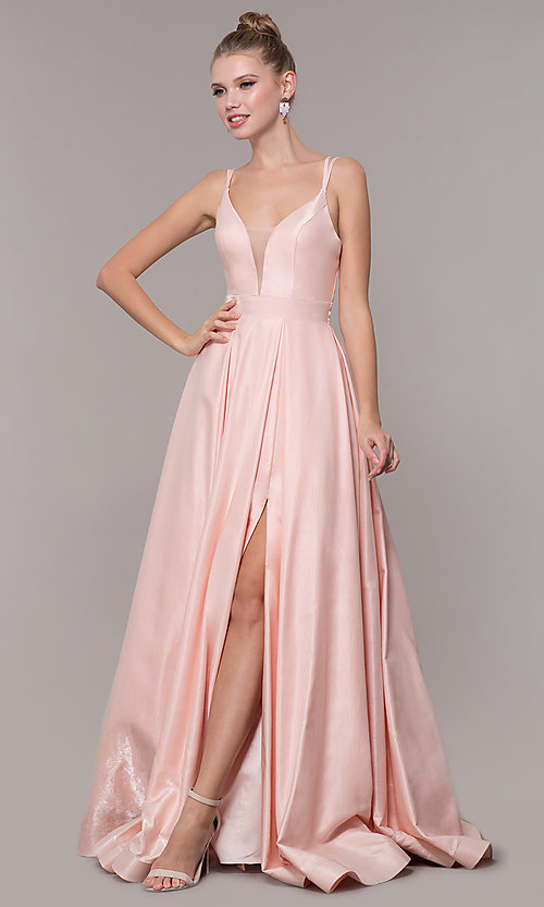 Image of long strappy-back ball-gown-style formal prom dress. Style: CD-2062 Front Image