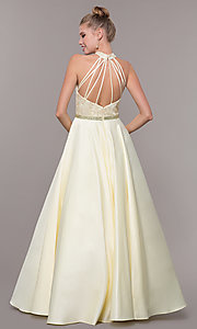 Image of high-neck embroidered-bodice open-back prom dress. Style: CD-GL-G835 Detail Image 6