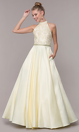 High Neck Embroidered Caged Back Bodice Prom Dress