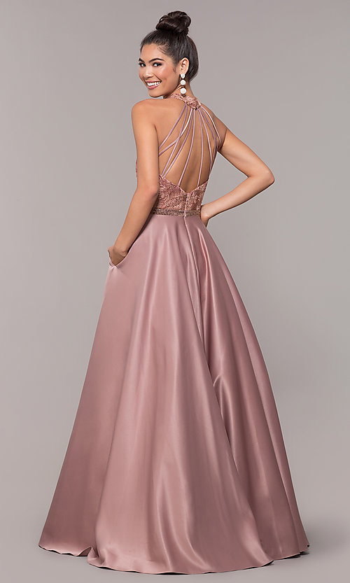 Image of high-neck embroidered-bodice open-back prom dress. Style: CD-GL-G835 Back Image