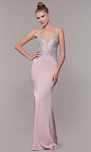 Image of long prom dress with metallic-embroidered applique. Style: CD-GL-G823 Front Image