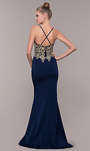 Image of long prom dress with metallic-embroidered applique. Style: CD-GL-G823 Detail Image 2