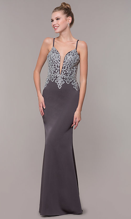 Image of long prom dress with metallic-embroidered applique. Style: CD-GL-G823 Detail Image 3