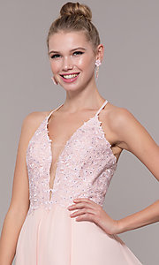 Image of chiffon corset-back long v-neck prom dress. Style: CD-GL-G821 Detail Image 4