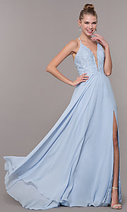 Image of chiffon corset-back long v-neck prom dress. Style: CD-GL-G821 Front Image