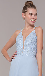 Image of chiffon corset-back long v-neck prom dress. Style: CD-GL-G821 Detail Image 1
