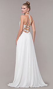 Image of chiffon corset-back long v-neck prom dress. Style: CD-GL-G821 Detail Image 6