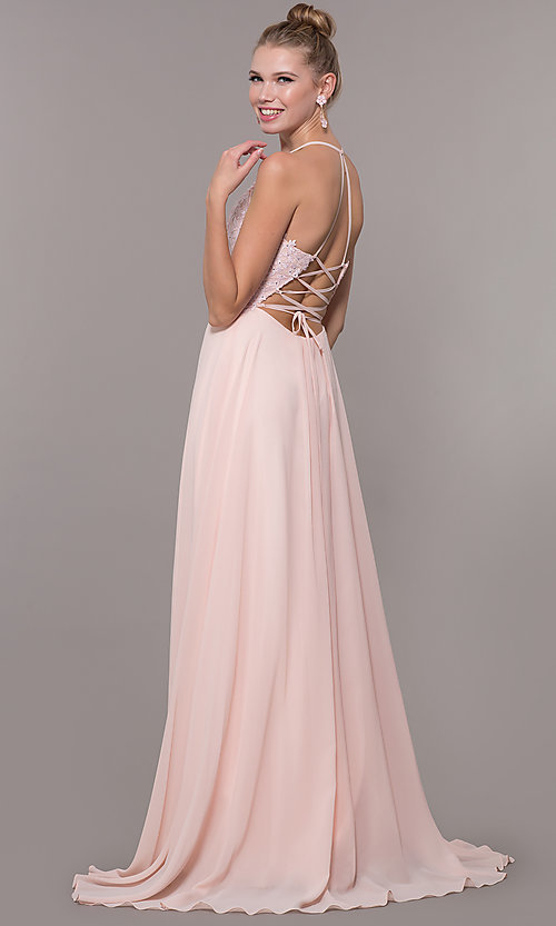 Image of chiffon corset-back long v-neck prom dress. Style: CD-GL-G821 Detail Image 3