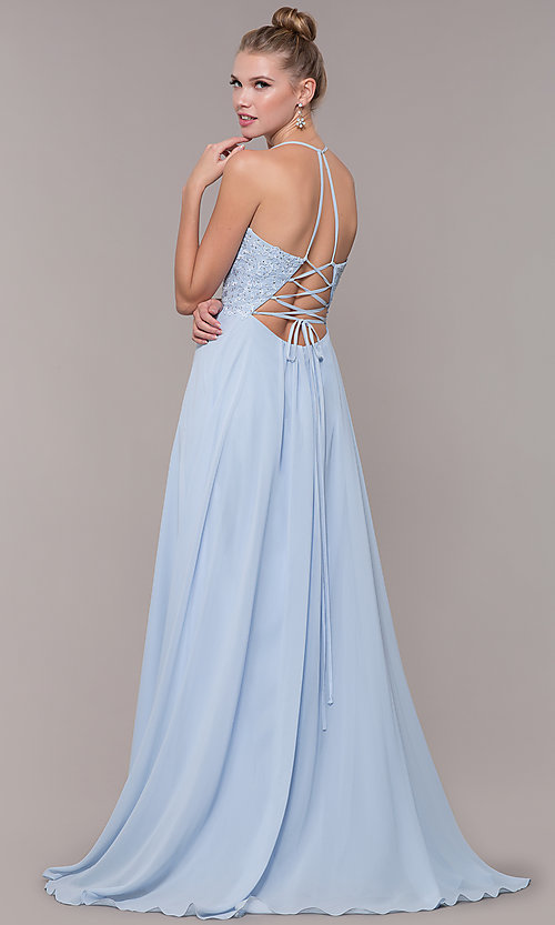 Image of chiffon corset-back long v-neck prom dress. Style: CD-GL-G821 Back Image