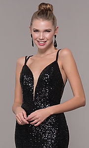 Image of long v-neck sequin-embellished prom dress. Style: CD-GL-G844 Detail Image 6