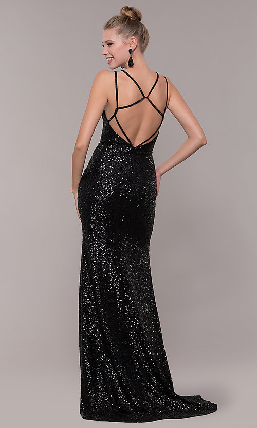 Image of long v-neck sequin-embellished prom dress. Style: CD-GL-G844 Detail Image 5
