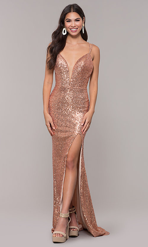 Image of long v-neck sequin-embellished prom dress. Style: CD-GL-G844 Front Image