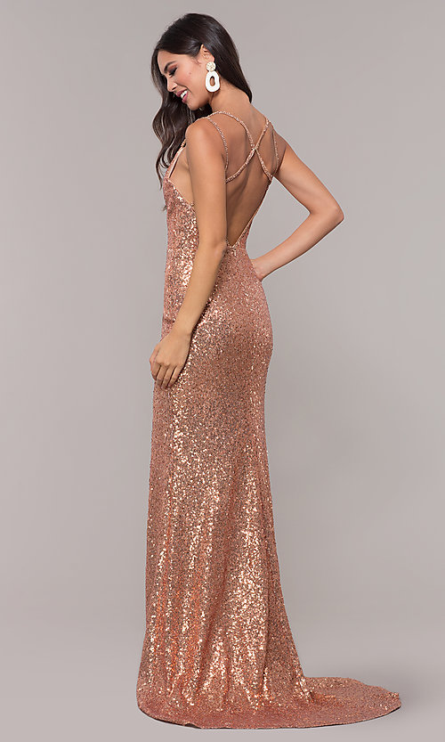 Image of long v-neck sequin-embellished prom dress. Style: CD-GL-G844 Back Image