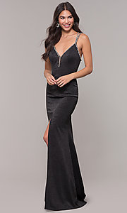 Image of beaded-caged-back long metallic formal prom dress. Style: CD-GL-G811 Detail Image 3