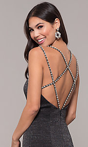 Image of beaded-caged-back long metallic formal prom dress. Style: CD-GL-G811 Detail Image 6