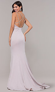 Image of beaded-caged-back long metallic formal prom dress. Style: CD-GL-G811 Front Image
