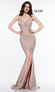 Image of beaded-caged-back long metallic formal prom dress. Style: CD-GL-G811 Detail Image 7