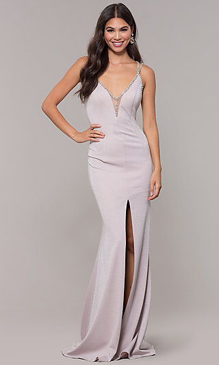 Long V-Neck Metallic Jersey Prom Dress