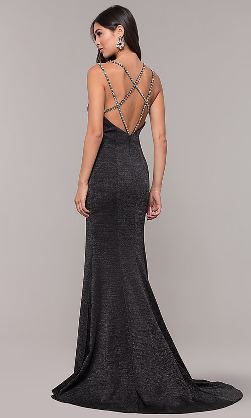 Image of beaded-caged-back long metallic formal prom dress. Style: CD-GL-G811 Detail Image 4