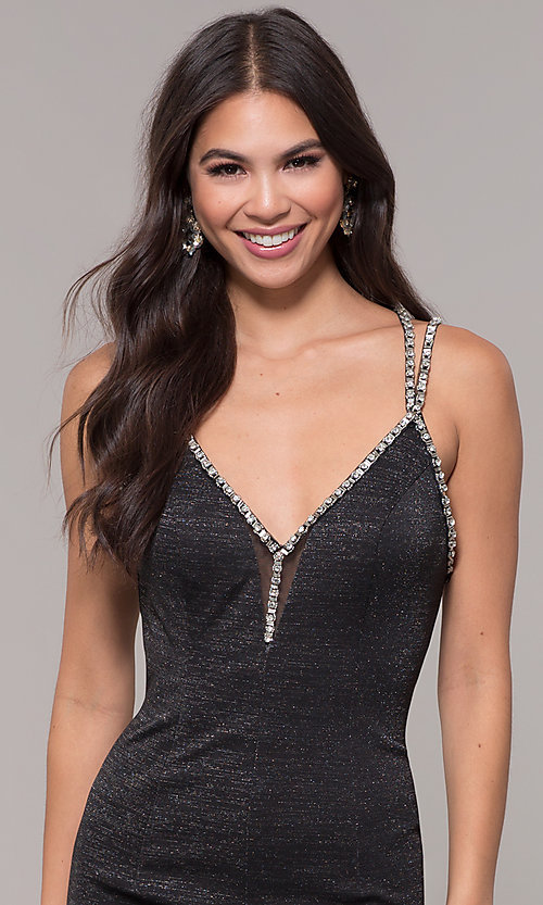 Image of beaded-caged-back long metallic formal prom dress. Style: CD-GL-G811 Detail Image 5