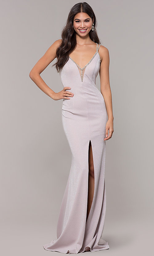 Image of beaded-caged-back long metallic formal prom dress. Style: CD-GL-G811 Back Image