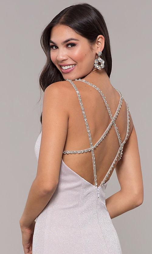 Image of beaded-caged-back long metallic formal prom dress. Style: CD-GL-G811 Detail Image 2