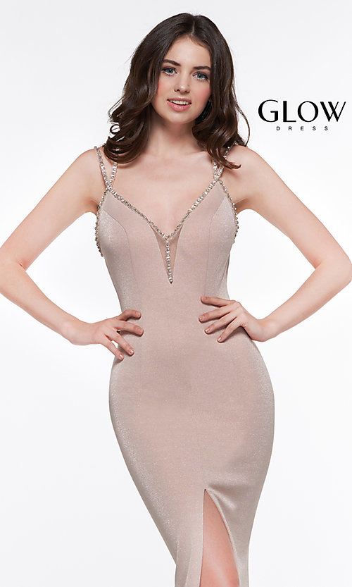 Image of beaded-caged-back long metallic formal prom dress. Style: CD-GL-G811 Detail Image 8