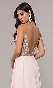 Image of long chiffon v-neck prom dress with beaded bodice. Style: CD-GL-G847 Detail Image 6