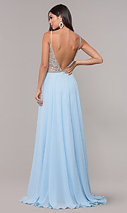 Image of long chiffon v-neck prom dress with beaded bodice. Style: CD-GL-G847 Back Image