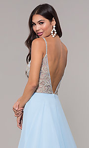 Image of long chiffon v-neck prom dress with beaded bodice. Style: CD-GL-G847 Detail Image 2