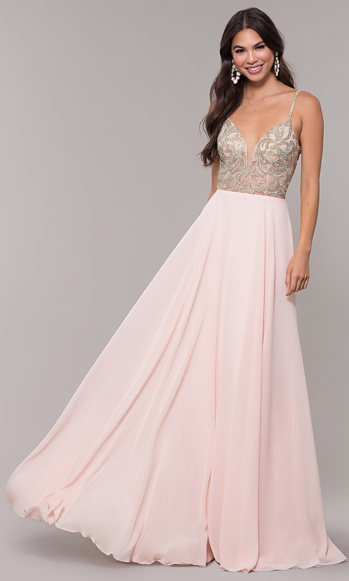 Image of long chiffon v-neck prom dress with beaded bodice. Style: CD-GL-G847 Detail Image 3