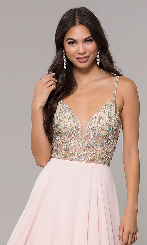 Image of long chiffon v-neck prom dress with beaded bodice. Style: CD-GL-G847 Detail Image 5