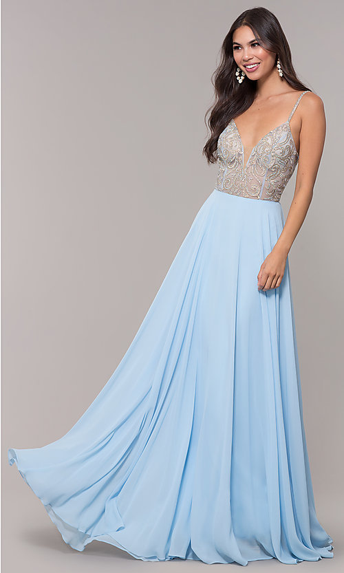 Image of long chiffon v-neck prom dress with beaded bodice. Style: CD-GL-G847 Front Image