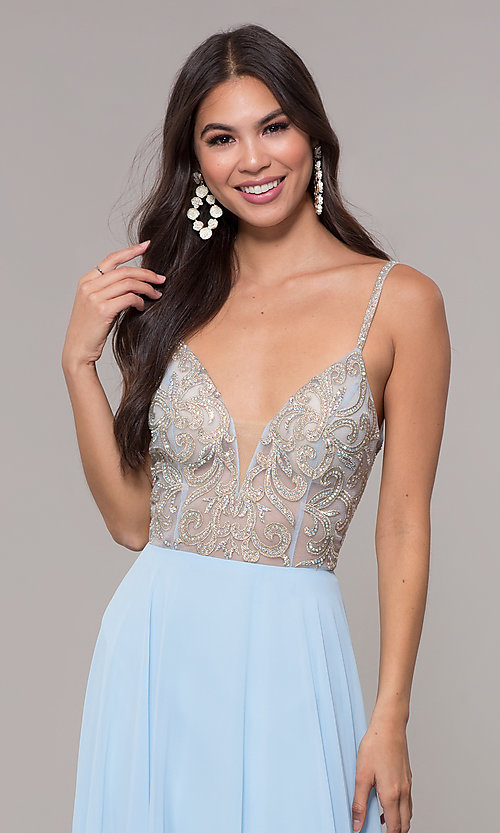 Image of long chiffon v-neck prom dress with beaded bodice. Style: CD-GL-G847 Detail Image 1