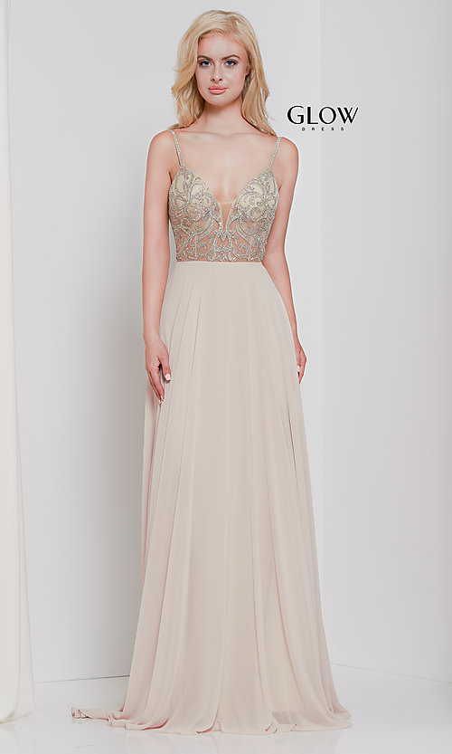 Image of long chiffon v-neck prom dress with beaded bodice. Style: CD-GL-G847 Detail Image 7