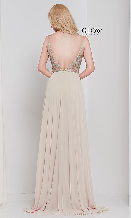 Image of long chiffon v-neck prom dress with beaded bodice. Style: CD-GL-G847 Detail Image 8