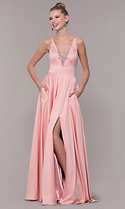 Image of v-neck long satin prom dress with pockets. Style: CD-GL-G813 Detail Image 5