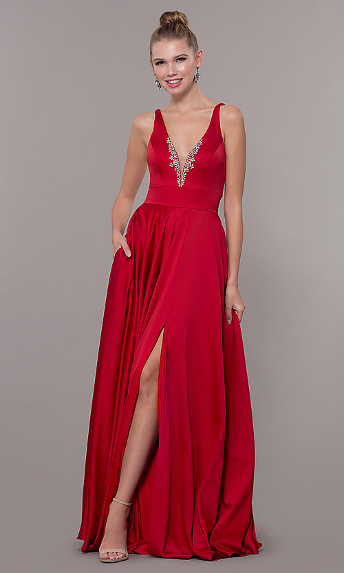 Image of v-neck long satin prom dress with pockets. Style: CD-GL-G813 Front Image