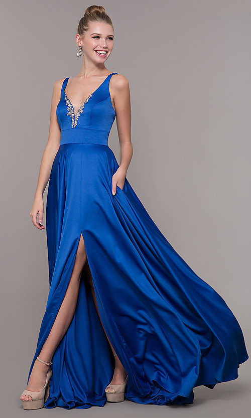 Image of v-neck long satin prom dress with pockets. Style: CD-GL-G813 Detail Image 2