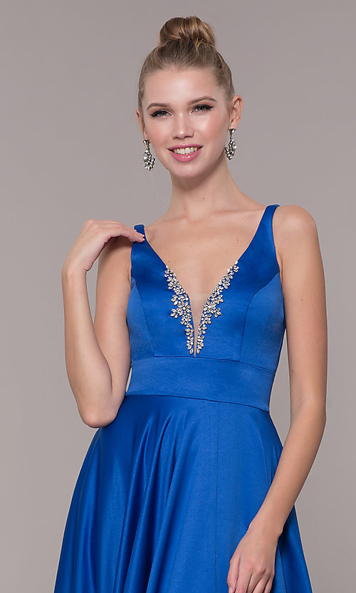 Image of v-neck long satin prom dress with pockets. Style: CD-GL-G813 Detail Image 4
