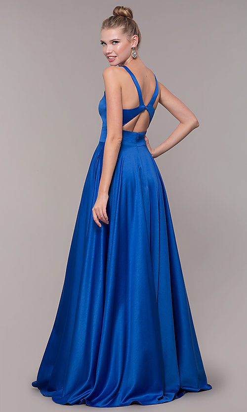 Image of v-neck long satin prom dress with pockets. Style: CD-GL-G813 Detail Image 3