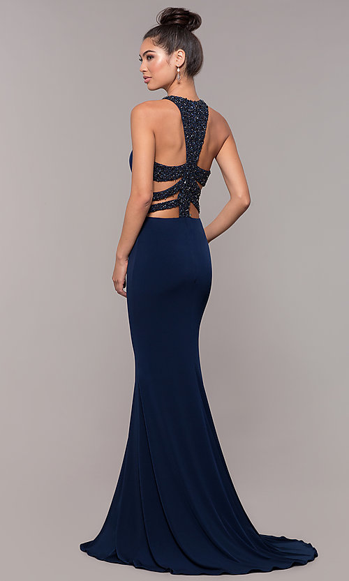 Image of high-neck embellished-caged-back long prom dress. Style: CD-GL-G807 Front Image