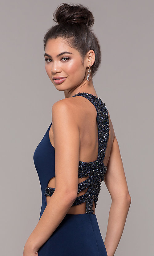 Image of high-neck embellished-caged-back long prom dress. Style: CD-GL-G807 Detail Image 1