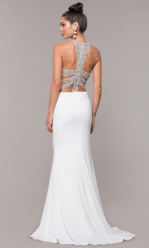Image of high-neck embellished-caged-back long prom dress. Style: CD-GL-G807 Detail Image 3