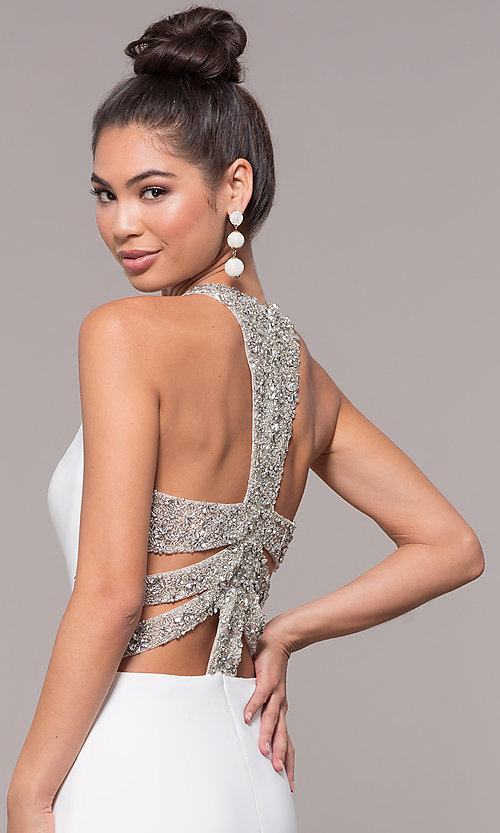 Image of high-neck embellished-caged-back long prom dress. Style: CD-GL-G807 Detail Image 6