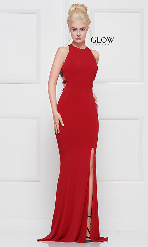 Image of high-neck embellished-caged-back long prom dress. Style: CD-GL-G807 Detail Image 7