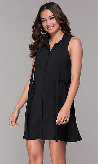 Sleeveless Casual Short LBD with Lace Back